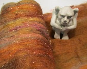 COPPERFIELD 4.0 oz, fiber art batt for spinning, art batt, sari silk, Angelina, spinning batt, felting fiber, batts, spinning fiber