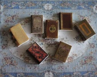 Dollhouse Miniature set of 7 brown books