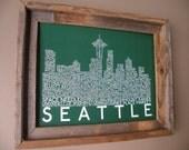 Seattle Skyline Word Art Print (Green) - Unframed