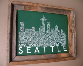 Seattle Skyline Word Art Print (Green) - Unframed