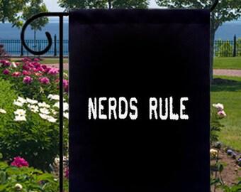 Nerds Rule New Small Garden Flag, Geeky Nerd Novelty Fun