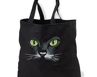Green Eyes Black Cat New Black Tote Bag, Unique