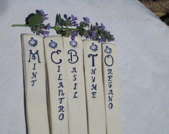 Ceramic Plant & Herb Markers, Gardening, Gardeners Gift, FleurdeLis Herb Stakes, Vegetable Markers, Flower Stakes, Reduce Reuse Recycle
