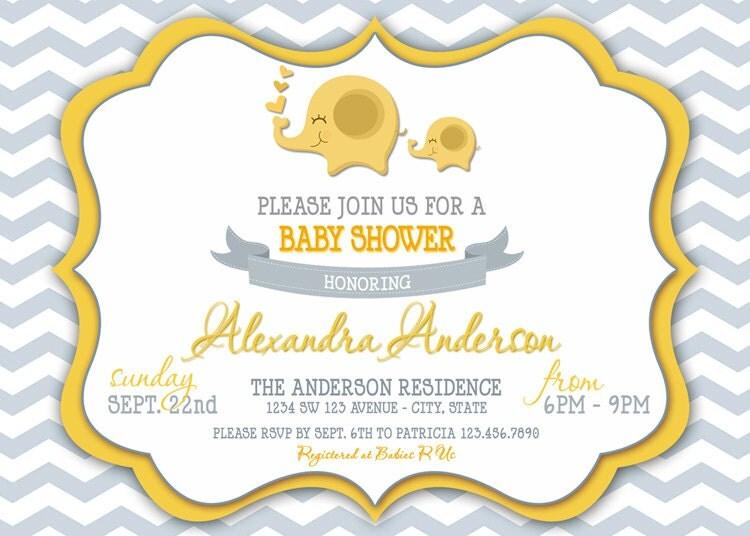 chevron elephant baby shower invitation chevron elephant
