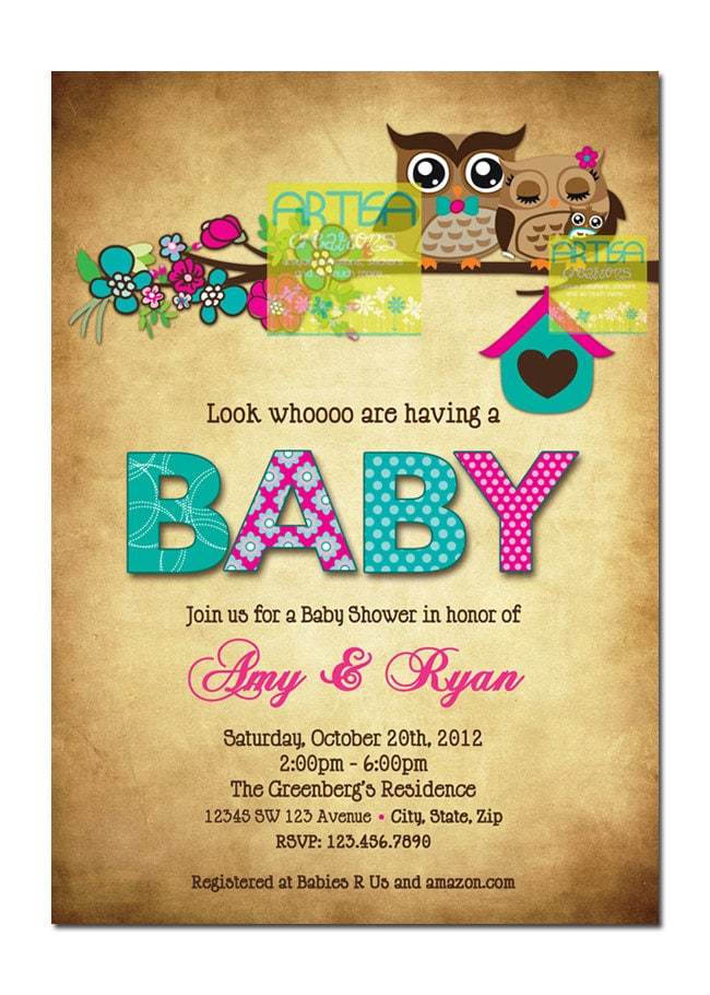 Owls Invitation Owls Mom and Baby Shower Invitation Pink