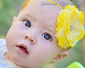 Bright Yellow Flower Headband - Baby Headband- Infant Headband - Toddler Headband - Girls Headband - Bright Yellow Flower  on Skinny Elastic