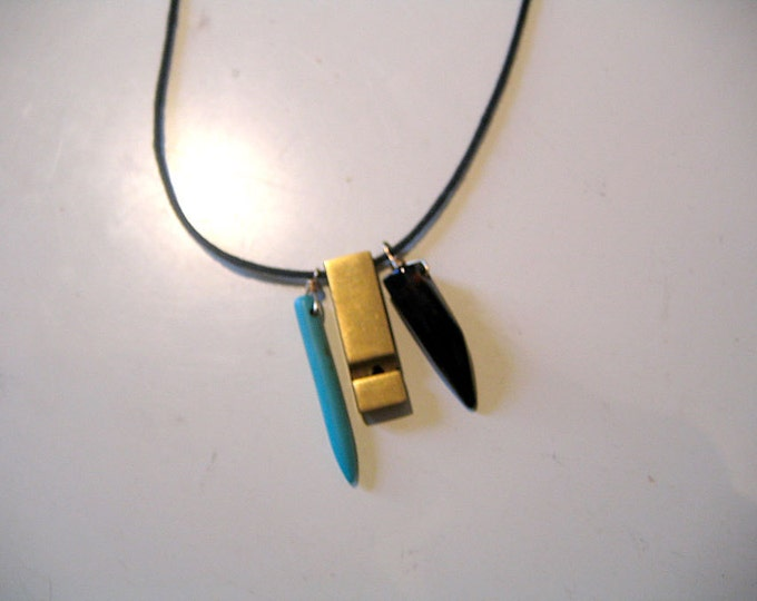 Featured listing image: Southwestern / Native American style necklace with turquoise, black tooth & brass whistle