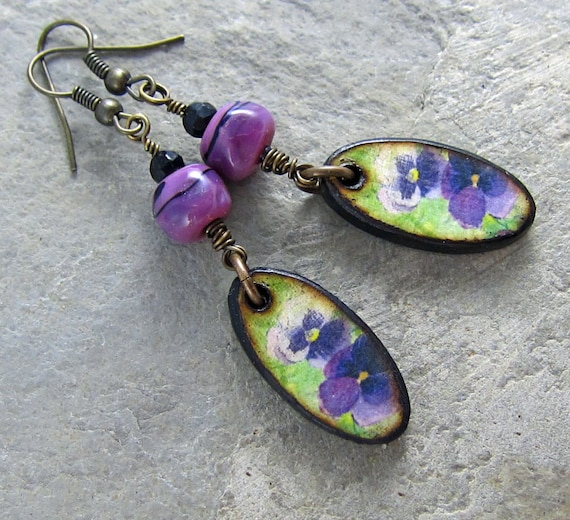 Handmade lampwork glass and wood flower earrings