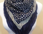 Vintage Square Scarf, Head Scarf, Navy Scarf, Polka Dot Scarf, Navy and Grey Scarf