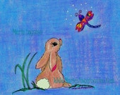 Bunny / Dragonfly Cards/ Greeting Cards - Note Cards. Set of 12. Art by Marie Logston.