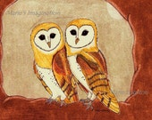Owls/ Golden Greeting Cards - Note Cards. Includes White Envelopes. Blank Inside.