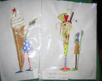 Quilt Blocks Embroidered, Lollysticks, set of 4,sundae,cupcake,cupcake stack,fairy on cupcake,ice cream cone and fairy