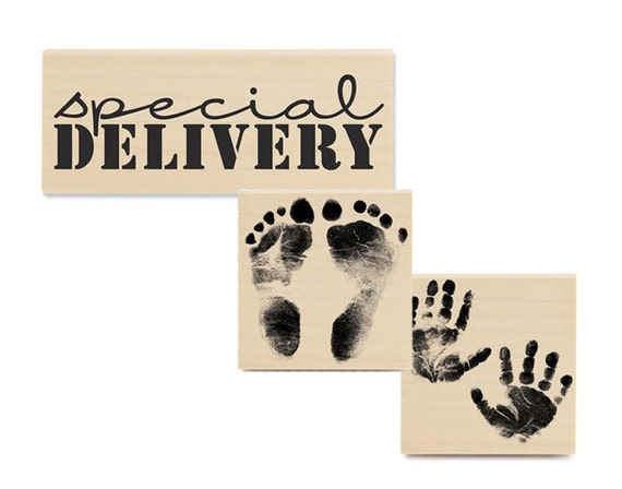 25% OFF - Baby Stamp Set - Special Delivery, Handprints & Footprints - 3 Rubber Stamps