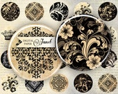 Ornaments - circles image - digital collage sheet - 1 x 1 inch - Printable Download