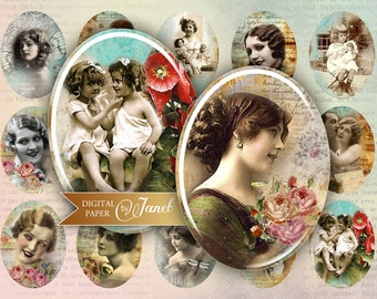 Old Foto - oval image - 30 x 40 mm or 18 x 25 mm - digital collage sheet  - Printable Download