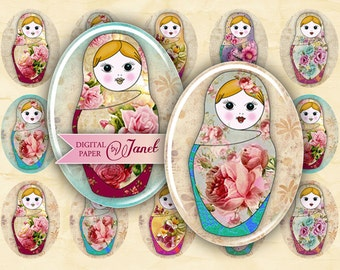 Matrioshka - oval image - 30 x 40 mm or 18 x 25 mm - digital collage sheet  - Printable Download