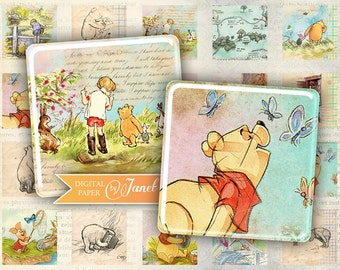 Winnie The Pooh - squares image - digital collage sheet - 1 x 1 inch - Printable Download