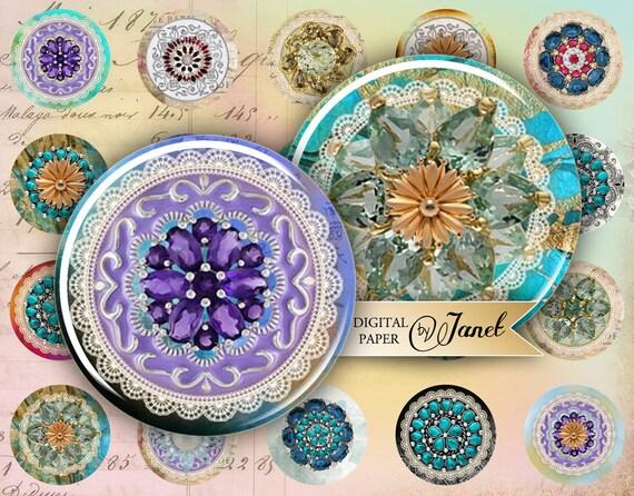 Souvenirs - circles image - digital collage sheet - 1 x 1 inch - Printable Download