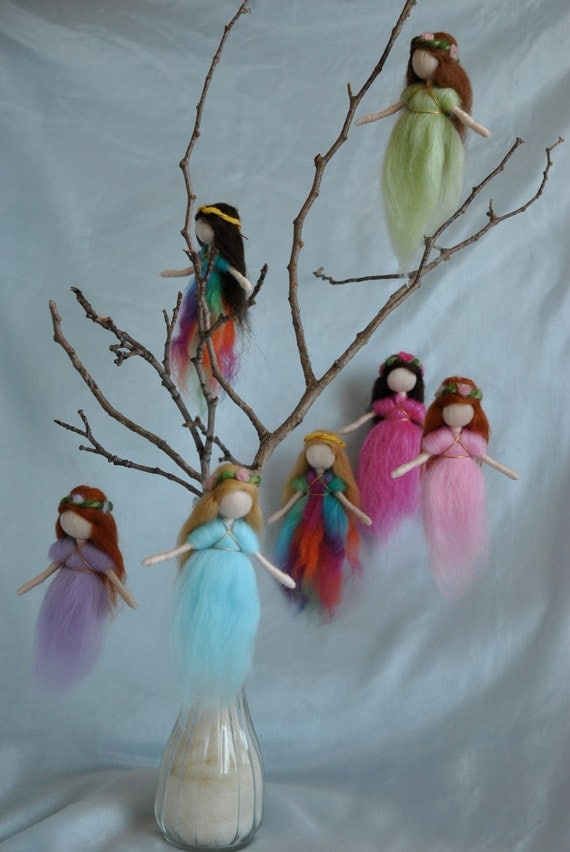 Special Item for Dene9  Waldorf inspired needle felted hanging  fairies