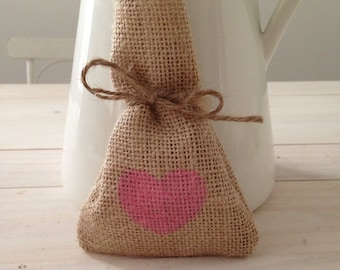 10 x Pink Hearyt Hessian/ Burlap Wedding Favour Bags