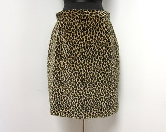 1980s Leopard Print Pencil Skirt - Rocker Rockabilly Trash Glam - Size 10 - Vegan