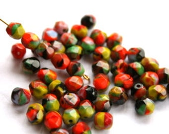 Multicolored Confetti Czech Faceted Beads