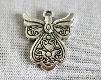 6 Tibetan Silver Double Sided Engraved Angel Charm/Pendants