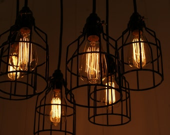 Industrial lighting, Industrial Chandelier, Black With Reclaimed Wood and 7 Pendants. R-1818-BC-7