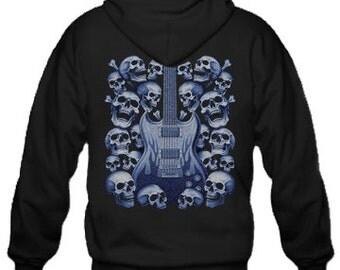 Adult Hoodie / Guitar and Skulls