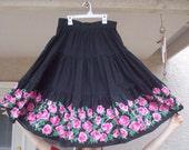 Vintage 1950's Full Skirt- Black w/ Pink Roses