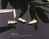 2pcs-10mmX5mmGold plated Bress Four Cubic zirconia Pendant Clasp Connector(K408G)