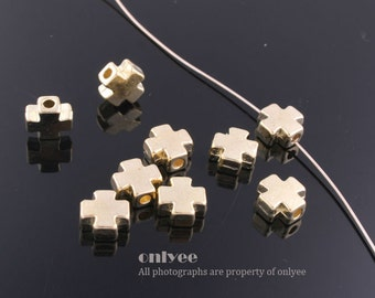 40pcs-7.3mmGold plated Zinc Alloy Mini Cross bead,connector, charm(K482G)