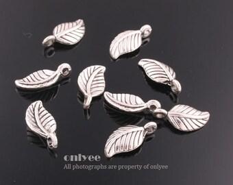 8pcs-15mmX7mmAntiqued Silver plated Zinc Alloy nature,leaf charm, pendant(K484S)