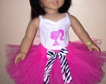American Girl Doll Barbie Pink and Zebra Tutu Set