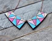 Wood Pendant collar with blue-pink geometric pattern (laser cut & hand painted)