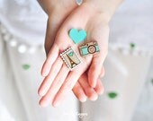 Wooden brooch, set of 3 pieces (laser cut & hand painted)
