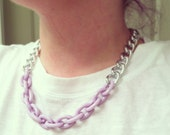 Silver chain necklace, pastel purple necklace, chunky silver chain link necklace, simple short necklace, silver short necklace, bib necklac