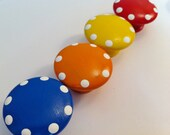 Bright Hand Painted Dresser Knobs in Primary Colors  - Blue, Orange, Yellow and Red