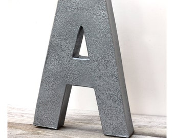 "12"" Metal Letters - Faux Hammered Steel  - You Choose Letter"