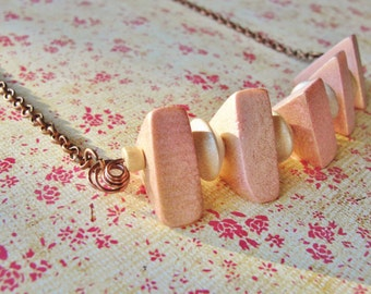 """Triangle Wood Bead Necklace Pink and White 24"""" Antiqued Copper Chain and Wire Lobster Claw Clasp"""
