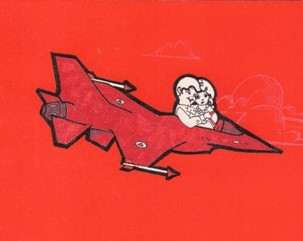 Moving Too Fast, 5 Blank Cards, 4 x 5 1/2 card, Airplane Valentine, Jet Fighter, Blank Valentine, Red black and white valentine, Red card
