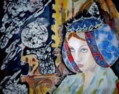 Silk Original batik handpainted  Gothic Queen.