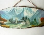 Vintage Wood Plaque Mountain Souvenir