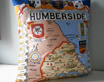 Humberside Map York Souvenir Cushion / Pillow cover Upcycled Teatowel