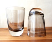 Set of 2 (two) vintage / retro, mid century, smoked gray / black glass tumblers / cups, clear dome shaped bottom