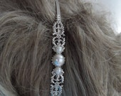 Victorian bridal headband PEARL headband Antiqued Silver Oxidized hair accessories steampunk renaissance mythological ornate European style
