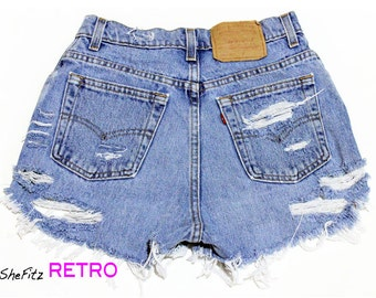 All Sizes Grunge Shredded High Waisted Cut Off Shorts