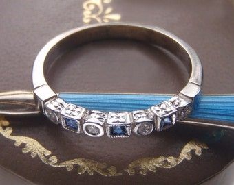 Exquisitely Detailed Natural Sapphire & Diamond Vintage Wedding Band. Gorgeous Art Deco. Platinum, White Gold. Stacking or Eternity Ring.