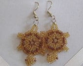 Turtle Earrings - Gold with brown