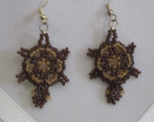 Turtle Earrings - Brown with gold
